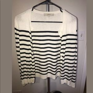 Loft Black and White Striped Cardigan SP